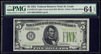 Fr. 1955-H $5 1934 Light Green Seal Federal Reserve Note. PMG Choice Uncirculated 64 EPQ