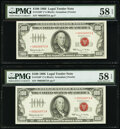 Small Size:Legal Tender Notes, Fr. 1550* $100 1966 Legal Tender Star Notes. Two Consecutive Examples. PMG Choice About Unc 58 EPQ.. ... (Total: 2 notes)