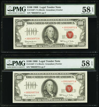 Fr. 1550* $100 1966 Legal Tender Star Notes. Two Consecutive Examples. PMG Choice About Unc 58 EPQ. ... (Total: 2 notes)
