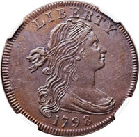 1798 1C First Hair Style, S-161, B-22, R.2, MS63 Brown NGC....(PCGS# 36047)