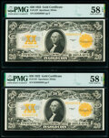 Large Size:Gold Certificates, Fr. 1187 $20 1922 Gold Certificates Two Consecutive Examples PMG Choice About Unc 58 EPQ.. ... (Total: 2 notes)