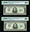Small Size:Federal Reserve Notes, Fr. 2202-B $500 1934A Federal Reserve Notes. Two Consecutive Examples. PMG Gem Uncirculated 65 EPQ; Choice Uncirculated 64 EPQ... (Total: 2 notes)