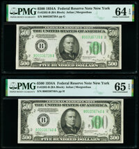 Fr. 2202-B $500 1934A Federal Reserve Notes. Two Consecutive Examples. PMG Gem Uncirculated 65 EPQ; Choice Uncirculated...