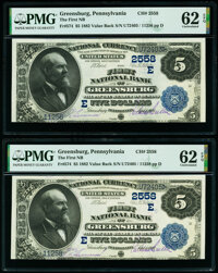 Greensburg, PA - $5 1882 Value Back Fr. 574 The First National Bank Ch. # (E)2558 Two Examples PMG Uncirculated 62 EPQ...