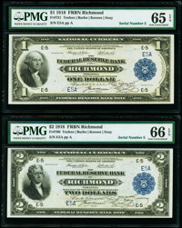 Matching Low Serial Number 5 Dual Courtesy Autographed Fr. 721 $1; Fr. 760 $2 1918 Federal Reserve Bank Notes PMG Graded...