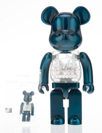 BE@RBRICK My First BE@RBRICK B@by (Pearl Navy Version) 400% and 100% (two works), 2016 Painted cast resin 10-3/4