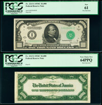 Fr. 2213-I $1,000 1934C Federal Reserve Note Face and Back Specimens PCGS New 61; Very Choice New 64PPQ. ... (Total: 2 n...