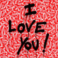 Paintings, Mr. Brainwash (b. 1966). I Love You!, 2013. Spray paint and stickers on wood. 48-1/4 x 48-1/4 inches (122.6 x 122.6 cm)...