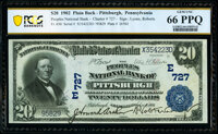 Pittsburgh, PA - $20 1902 Plain Back Fr. 650 The Peoples National Bank Ch. # (E)727 PCGS Banknote Gem Unc 66 PPQ