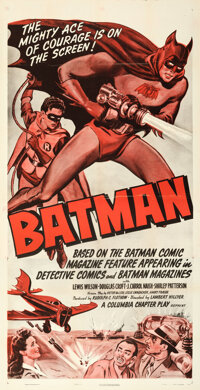 """The Batman (Columbia, R-1954). Folded, Very Fine. One Sheet (27"""" X 41"""") Chapter 14-- """"The Execution Strik..."""
