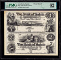 Obsoletes By State:New York, Salem, NY- Bank of Salem $1-$2 18__ Proof Uncut Sheet PMG Uncirculated 62. ...
