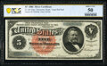 Large Size:Silver Certificates, Fr. 261 $5 1886 Silver Certificate PCGS Banknote About Unc 50.. ...