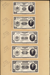 Netherlands Indies 1943 Muntbiljet Issue, Two Pages with 10 Examples of Photographic Proofs Crisp Uncirculated. ... (Tot...