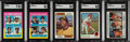 Baseball Cards:Lots, 1973-75 Topps Baseball Hall of Famers SGC Graded Rookie Lot of 5. ...