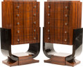 Furniture, A Pair of Art Deco-Style Zebra Wood and Ebonized Wood Five-Drawer Chests. 48-3/4 x 28 x 15-1/2 inches (123.8 x 71.1...