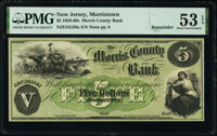 Morristown, NJ- Morris County Bank $5 18__ G36a Remainder PMG About Uncirculated 53 EPQ
