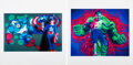 Prints & Multiples, Ron English (b. 1959). Hulk Boy and Captain Kid (two works), 2007. Digital prints in colors on wove paper. 20 x 20 i... (Total: 2 Items)