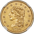 1834 $2 1/2 Small Head, HM-1, R.2, MS61 NGC. Sharply struck with satiny brass-gold luster. The fields exhibit mild refle...