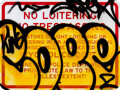 Paintings, Cope2 (b. 1968). No Loitering 3, 2021. Spray paint on metal street sign. 18 x 24 inches (45.7 x 61 cm). Published by 1xR...