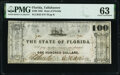 Tallahassee, FL- State of Florida $100 January 1, 1865 Cr. 43 PMG Choice Uncirculated 63