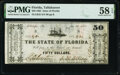 Tallahassee, FL- State of Florida $50 January 1, 1865 Cr. 42 PMG Choice About Unc 58 EPQ
