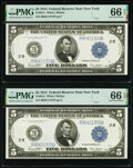 Large Size:Federal Reserve Notes, Fr. 851c $5 1914 Federal Reserve Notes Two Consecutive Examples PMG Gem Uncirculated 66 EPQ.. ... (Total: 2 notes)