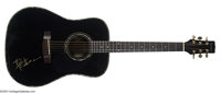 Dave Matthews Signed Acoustic Guitar. Rare, in-person signed black Samick acoustic guitar. Matthews has boldly signed th...