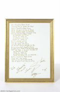 "Music Memorabilia:Autographs and Signed Items, Steve Perry Handwritten Lyric Canvas for ""Oh Sherrie""...."
