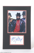 Music Memorabilia:Autographs and Signed Items, Run DMC Signed Matted Display....
