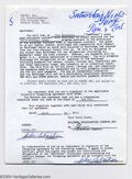 "Music Memorabilia:Autographs and Signed Items, John Sebastian Signed Document for ""Saturday Night Live"" - April22, 1976...."