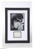 Music Memorabilia:Autographs and Signed Items, Nancy Sinatra Signed Document Clipping....