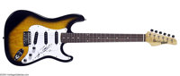 Hank Williams, Jr. Signed Electric Guitar. Eye-catching black and orange sunburst Stratocaster-style Kramer Focus guitar...
