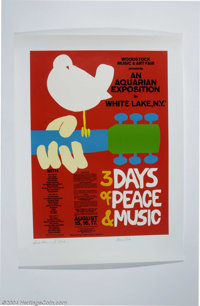 Woodstock Lithograph Signed by Grace Slick & Richie Havens. 22 x 30 lithographic print featuring the artwork for the...