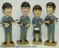 Music Memorabilia:Toys, Beatles - Large Set of Car Mascot Bobbin' Head Figures (1964)....(4 )