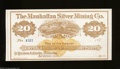 Miscellaneous:Checks, Austin, NV- Manhattan Silver Mining Co. $20 187_