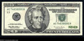 Error Notes:Blank Reverse (<100%), Fr. 2083-C $20 1996 Federal Reserve Note. Very Fine+. The ...