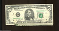 Error Notes:Attached Tabs, Fr. 1975-D $5 1977-A Federal Reserve Note. Fine-Very Fine. ...