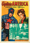 """Movie/TV Memorabilia:Posters, Captain America and & Lot (G. Mansour, 1944, R-1953). Folded, Fine/Very Fine. Indian One Sheet (27.5"""" X 39.5""""), One S..."""