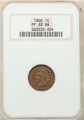 Proof Indian Cents, 1866 1C PR63 Brown NGC. NGC Census: (5/15). PCGS Population: (9/28). CDN: $180 Whsle. Bid for NGC/PCGS PR63. Mintage 725. ...