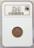 Proof Indian Cents, 1874 1C PR63 Red and Brown NGC. Eagle Eye Photo Seal. NGC Census: (11/100). PCGS Population: (39/189). CDN: $250 Whsle. Bid...