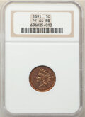 Proof Indian Cents, 1891 1C PR64 Red and Brown NGC. NGC Census: (83/57). PCGS Population: (183/67). CDN: $325 Whsle. Bid for NGC/PCGS PR64. Min...