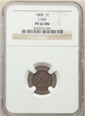 1868 1C Cent, Judd-606, Pollock-671, Snow-PT2b, Low R.7, PR62 Brown NGC. The obverse greatly resembles the three cent ni...