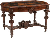 An American Aesthetic Movement Marquetry Inlaid Mahogany Center Table, 19th century 30-1/2 x 48-1/2 x 31-3/4 inche