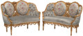 Furniture, A Pair of French Regence-Style Carved Giltwood Marquis. 38-1/4 x 51-1/2 x 22 inches (97.2 x 130.8 x 55.9 cm) (each)...