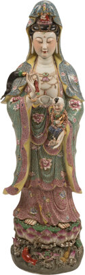 A Large Chinese Enameled Porcelain Guanyin 46-1/4 x 15 x 11 inches (117.5 x 38.1 x 27.9 cm)