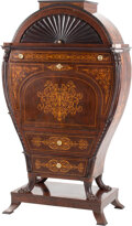 Furniture, A Baltic Inlaid Fall Front Secretary with Fitted Interior. 71 x 40-1/2 x 24 inches (180.3 x 102.9 x 61.0 cm).