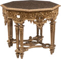Furniture, An Italian Baroque-Style Carved Giltwood Octagonal Salon Table, 19th century. 30-1/2 x 38-1/2 x 38-1/2 inches (77.5...