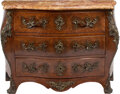 Furniture, A French Louis XV-Style Bronze Mounted Marquetry Inlaid Co...