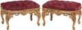 Furniture, A Pair of Italian Rococo-Style Carved Giltwood Upholstered...