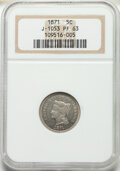 1871 5C Five Cents, Judd-1053, Pollock-1188, High R.6, PR63 NGC. The bust of Liberty is similar to that seen on the issu...